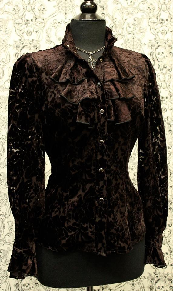 ANTOINETTE TOP - BLACK_BROWN VELVET PRINT