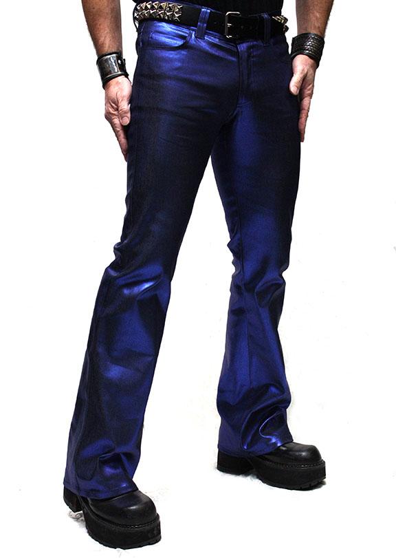 CLASSIC BIKER JEANS - BLUE METALLIC DENIM