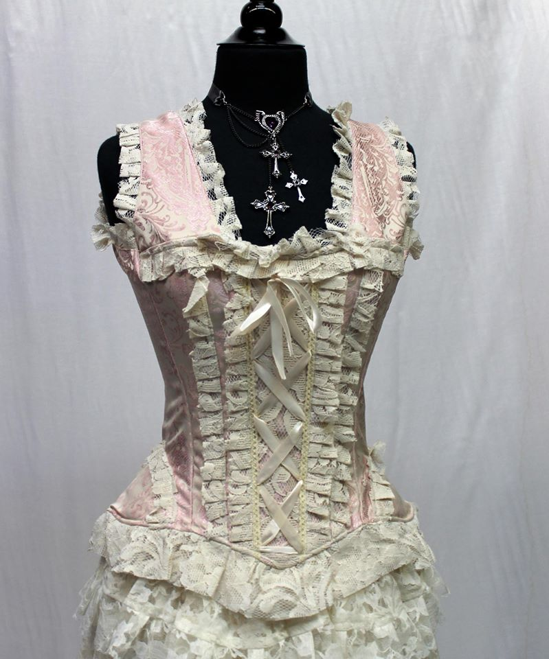 61181d3640 PARIS CABARET CORSET TOP – PINK IVORY – Shrine of Hollywood