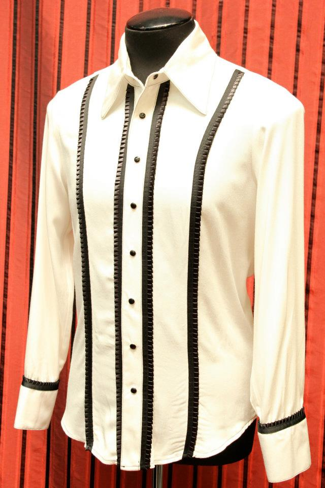 TUX SHIRT - WHITE w BLACK TRIM