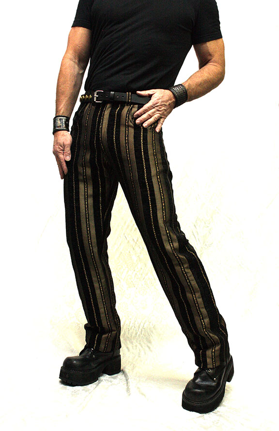 VICTORIAN STRIPED CARNY PANTS - BLACK_GOLD