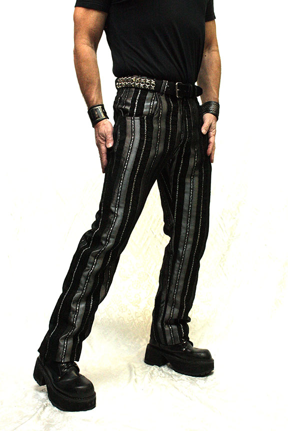 VICTORIAN STRIPED CARNY PANTS - SILVER_BLACK