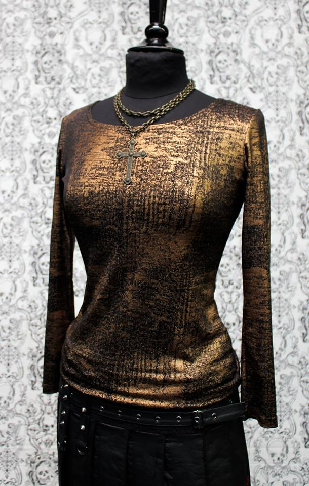 WOMEN'S METALLIC LONG SLEEVE TEE - COPPER