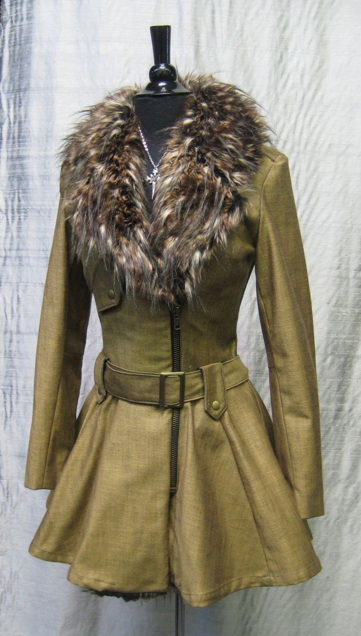 cc9a239c1 VINTAGE MOTORCYCLE COAT - MUSTARD DENIM WITH FAUX COYOTE FUR
